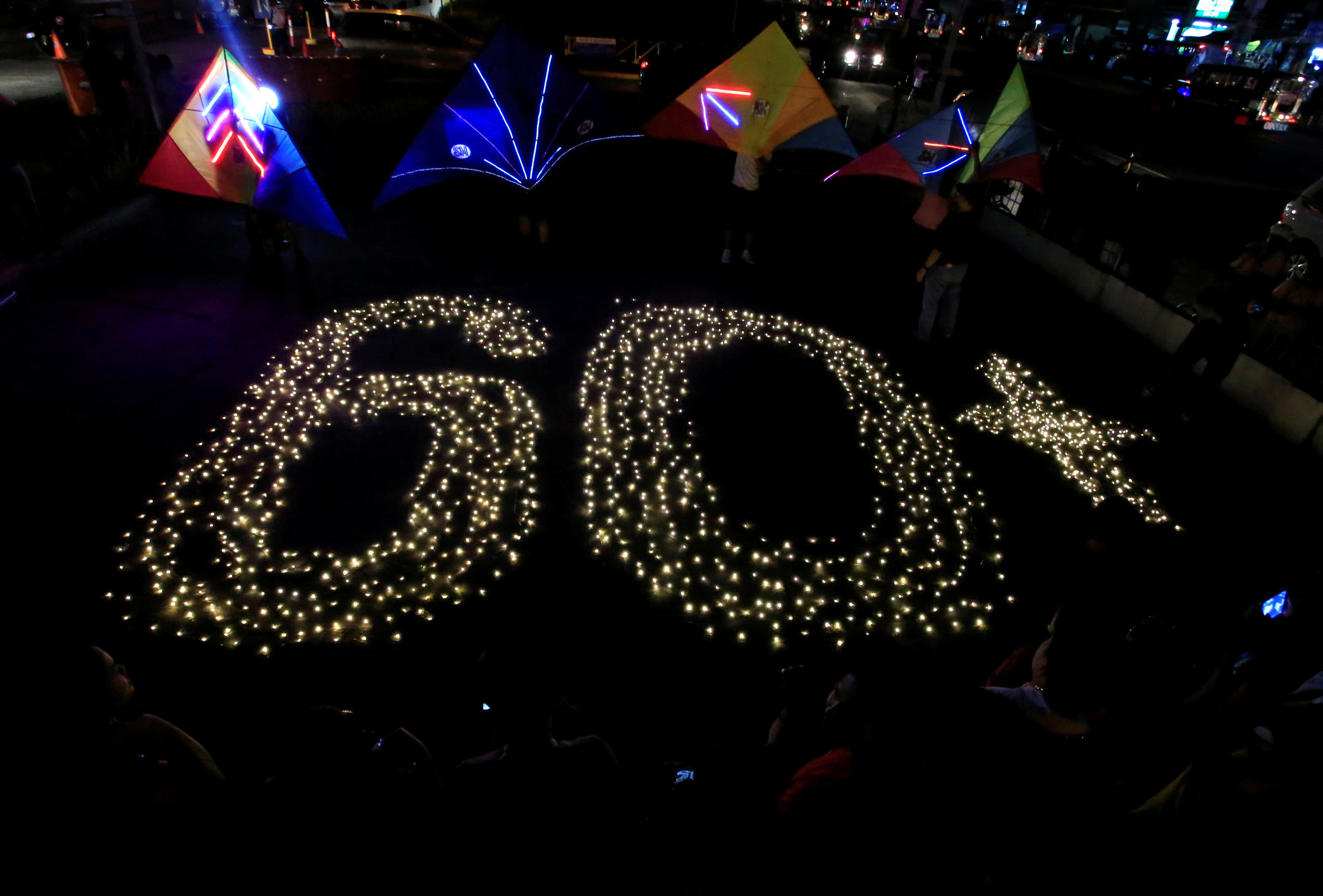 Lamps representing the 60 minutes for Earth Hour during which lights are switched off, in the Philippines