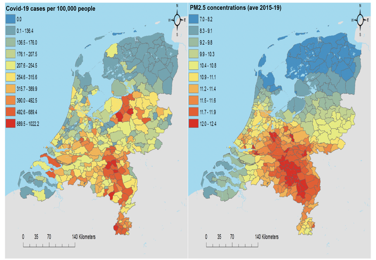 COVID-19 cases per 100,000 people and annual concentrations of PM2.5 (averaged over the period 2015-19) in the Netherlands.