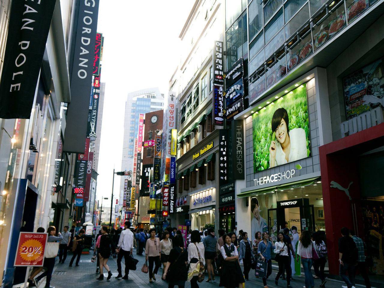 Quartier de Myeong-dong à Séoul.