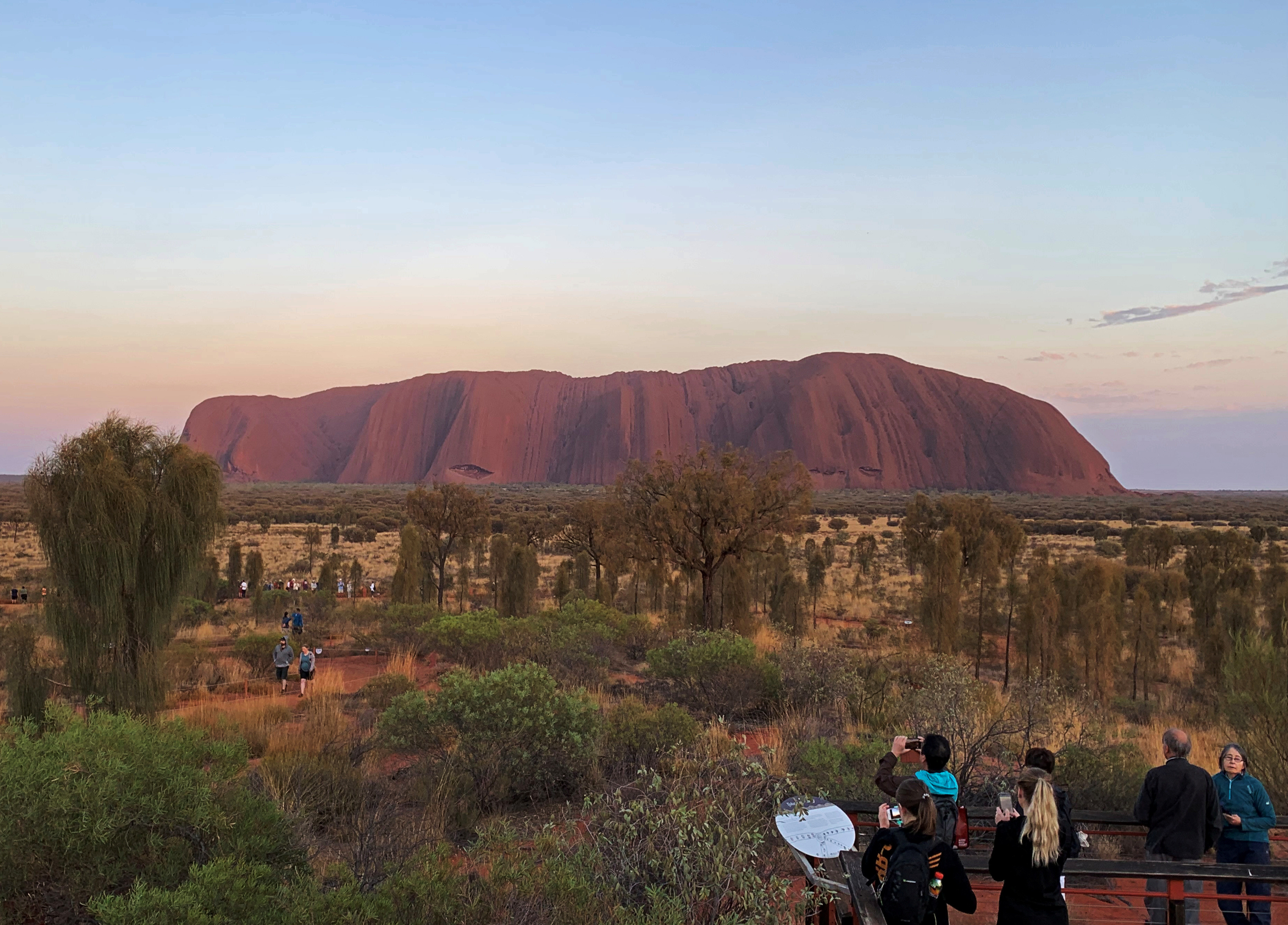 People view Uluru, formerly known as Ayers Rock, the day before a permanent ban on climbing the monolith takes effect following a decades-long fight by indigenous people to close the trek, near Yulara, Australia, October 25, 2019.