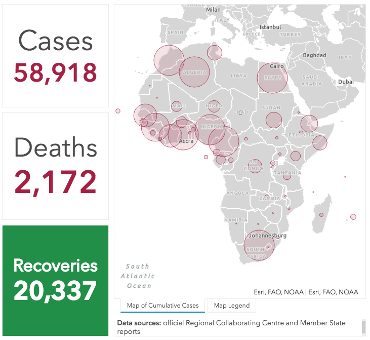 COVID-19 cases, deaths and recoveries in Africa as of May 9, 2020.
