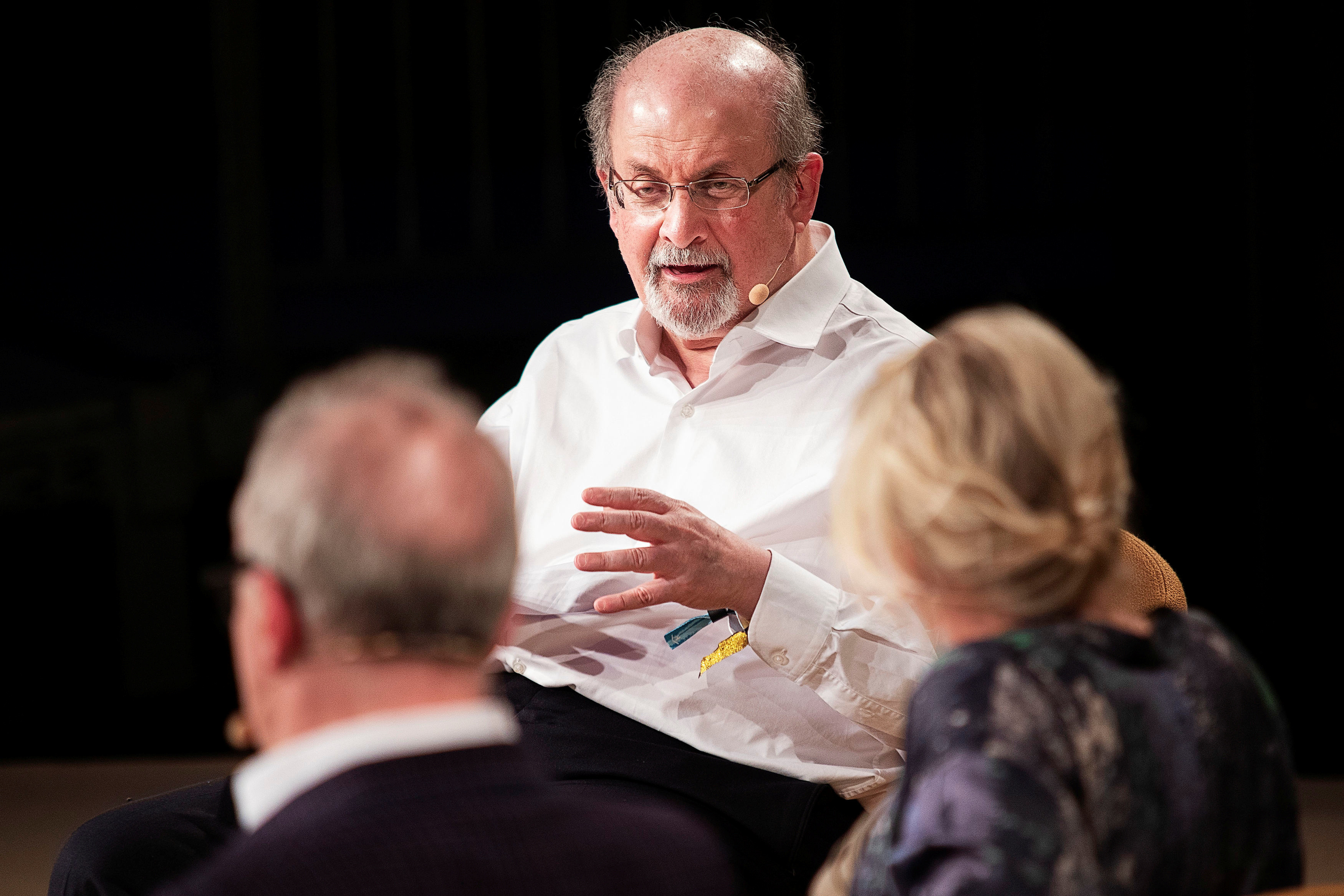 The writer Salman Rushdie interviewed during Heartland Festival in Kvaerndrup, Denmark  June 2, 2018. Carsten Bundgaard/Ritzau Scanpix/via REUTERS   ATTENTION EDITORS - THIS IMAGE WAS PROVIDED BY A THIRD PARTY. DENMARK OUT. NO COMMERCIAL OR EDITORIAL SALES IN DENMARK. - RC18A64504D0