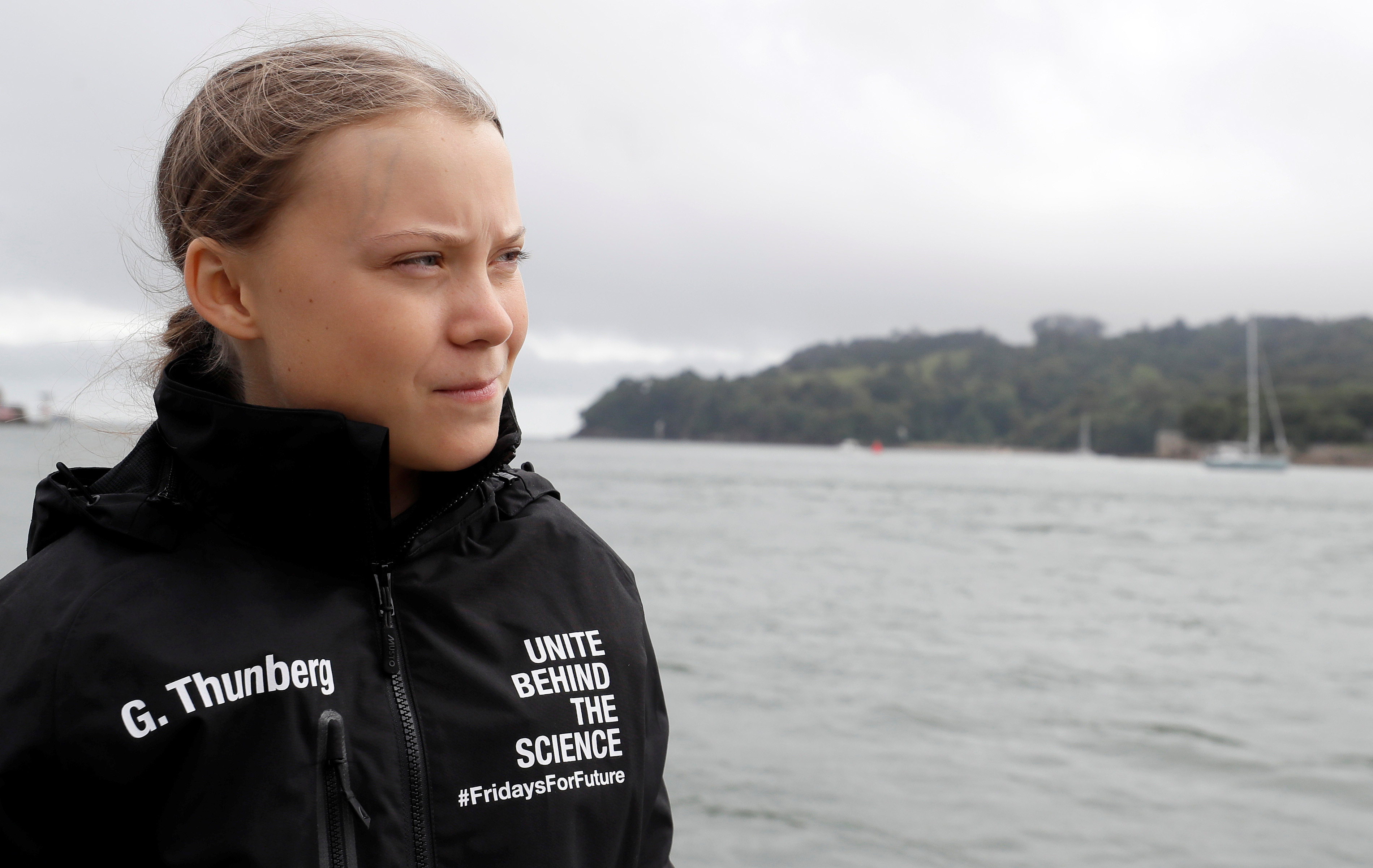 Swedish teenage climate activist Greta Thunberg arrives to board the Malizia II boat in Plymouth, Britain.