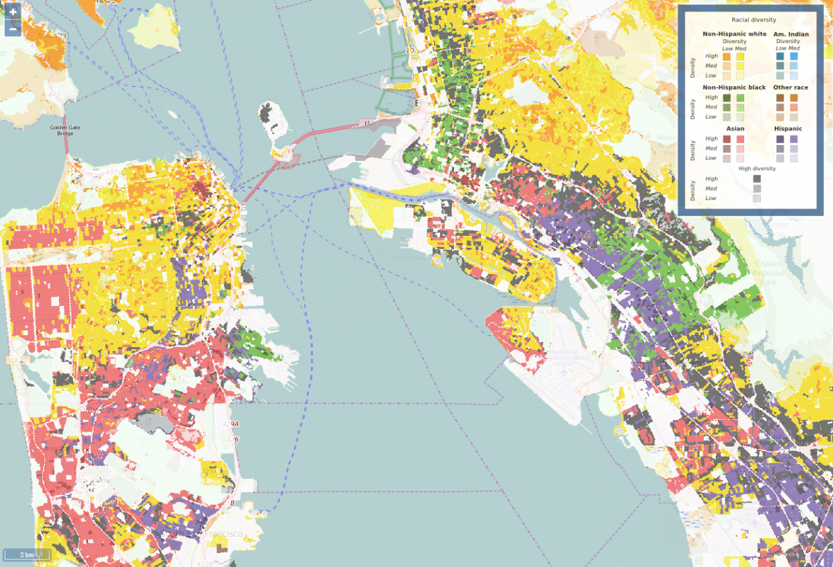 A diversity map of San Francisco in 2010.