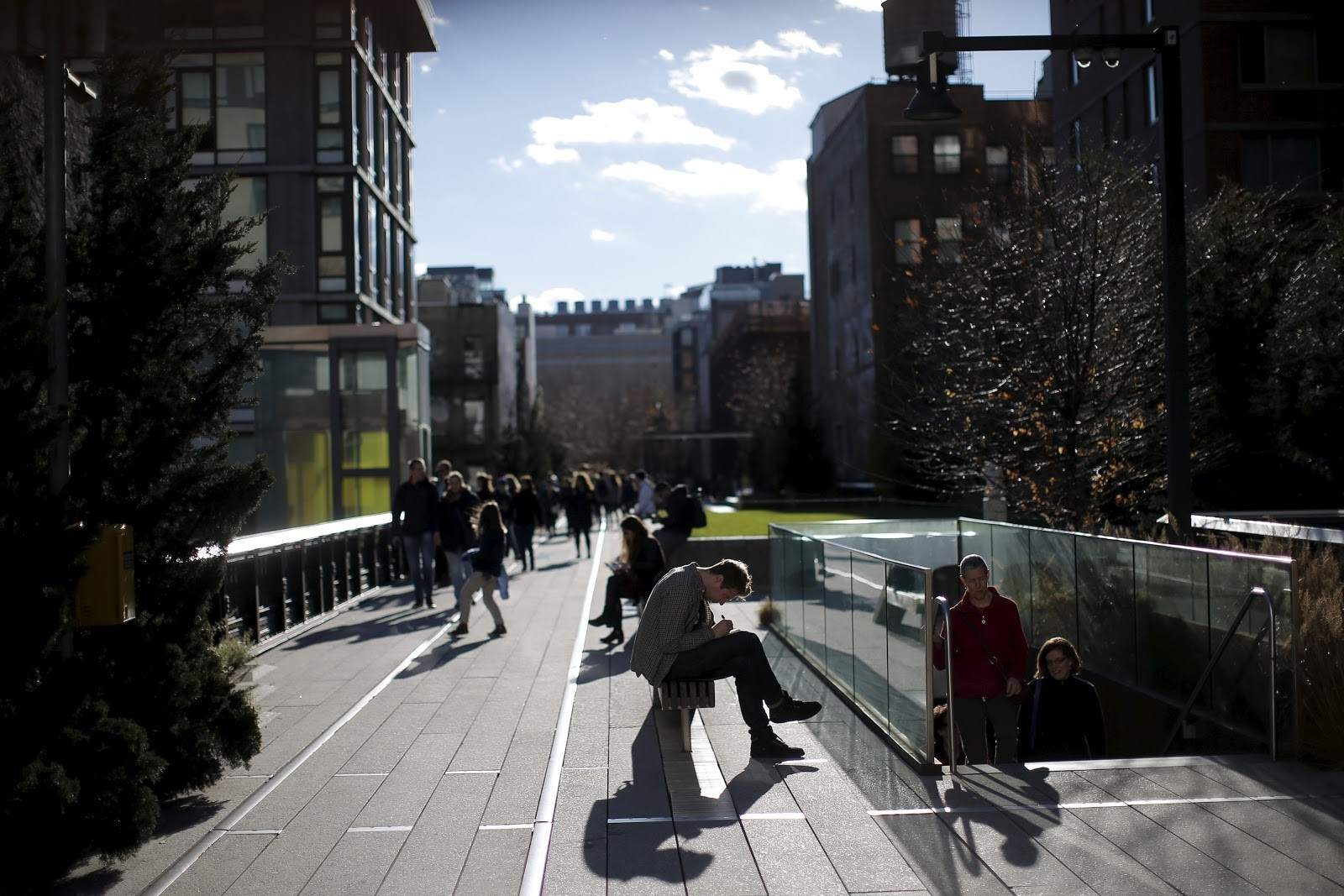 The High Line park runs for 2.4 km above the streets of New York.