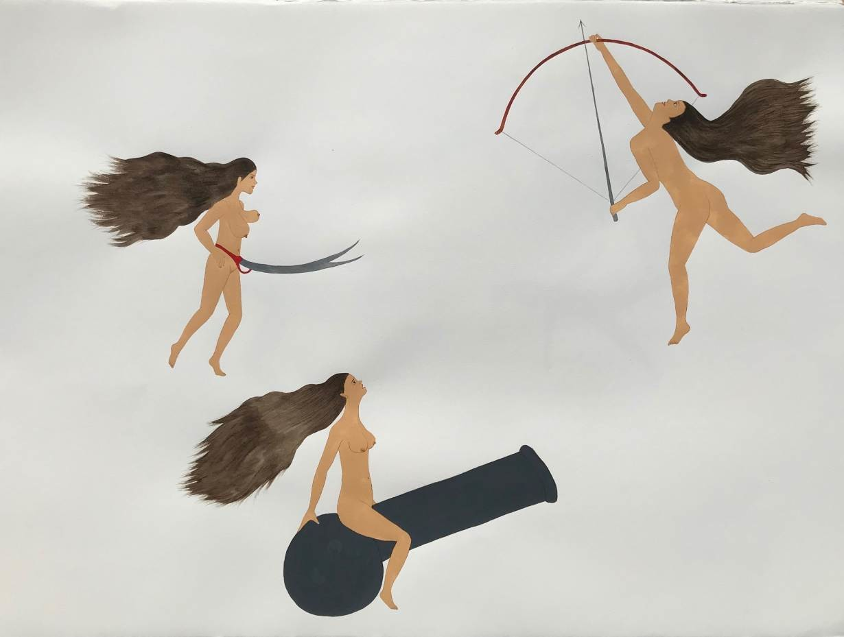 A naked woman floats in the air with a pair of scissors surrounding her stomach, while another straddles a cannon, her head tilted towards the sky.