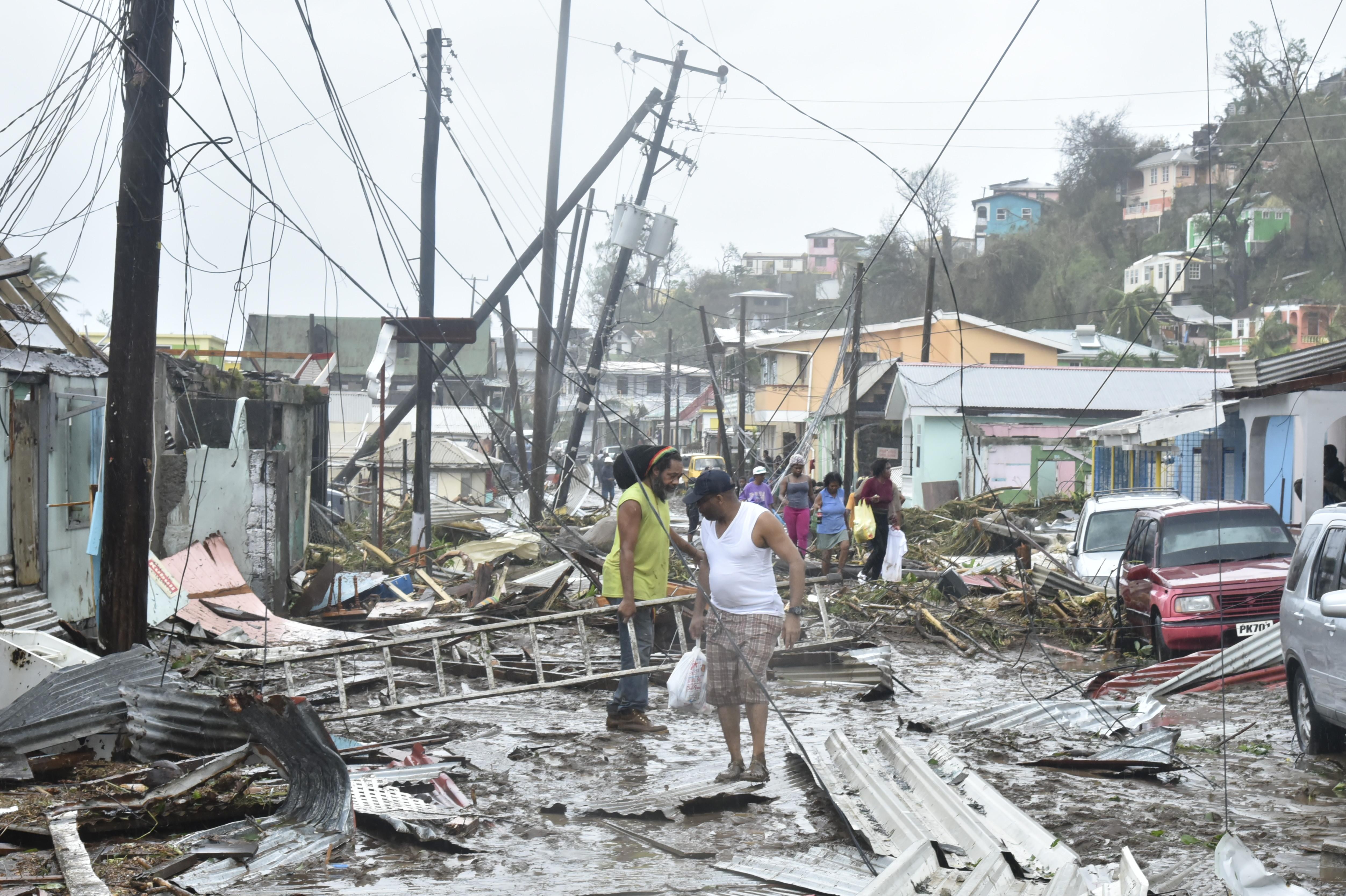 Destruction in Roseau, Dominica, after Hurricane Maria.