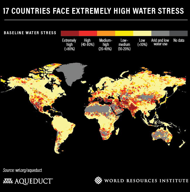 17 countries face extremely high water stress