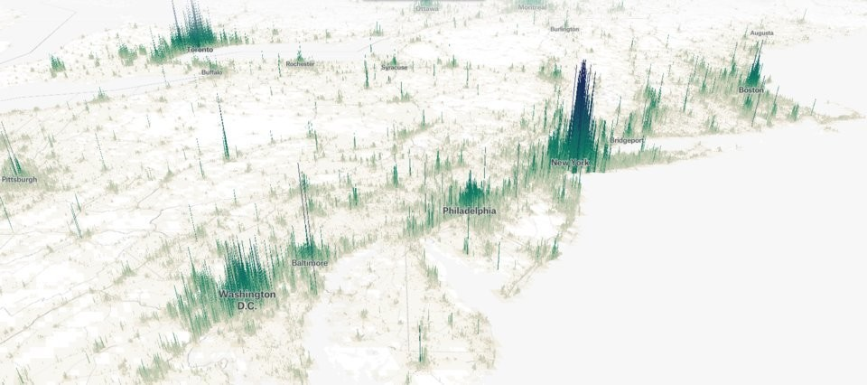The spikes on this map show the population densities for New York, Washington, DC, and Philadelphia.