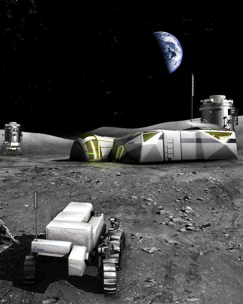 Concept de base habitée sur la Lune, étudié par l'Agence spatiale européenne.
