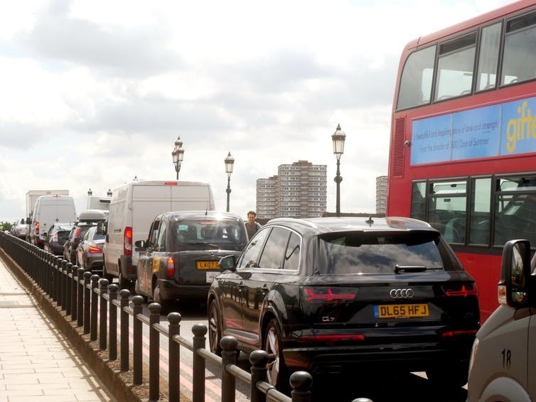 Polluted megacities include those such as Paris, London and Los Angeles. Here, traffic is shown in the city of London, UK.