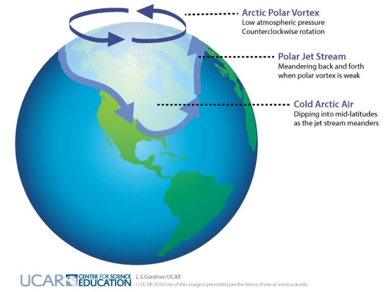 Dark arrows indicate rotation of the polar vortex in the Arctic; light arrows indicate the location of the polar jet stream when meanders form and cold, Arctic air dips down to mid-latitudes.