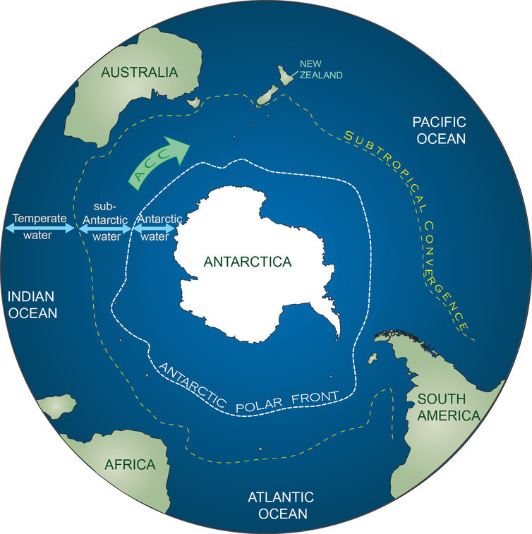 Approximate positions of the Antarctic polar front and the subtropical convergence, which are the northern bounds of Antarctic and sub-Antarctic water, respectively.