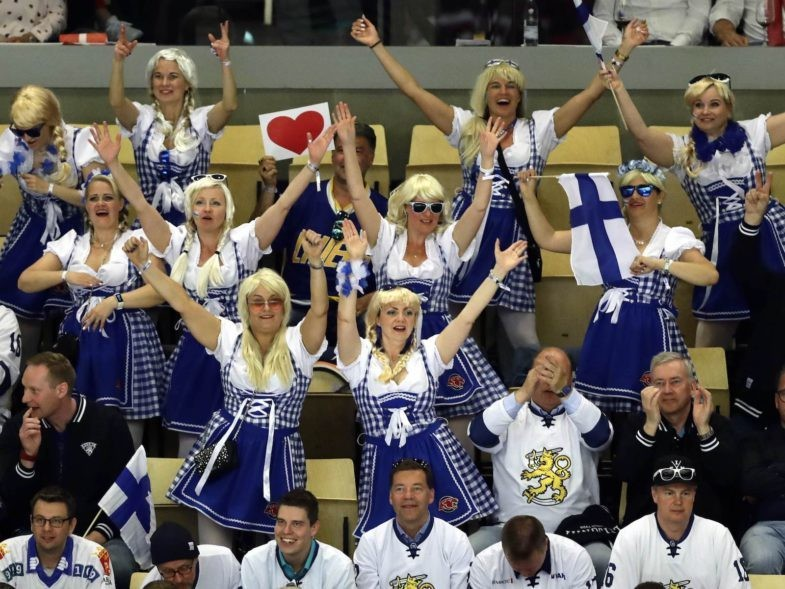 Ice Hockey - 2018 IIHF World Championships - Group B - Canada v Finland - Jyske Bank Boxen - Herning, Denmark - May 12, 2018 - Team Finland's fans cheer. REUTERS/David W Cerny
