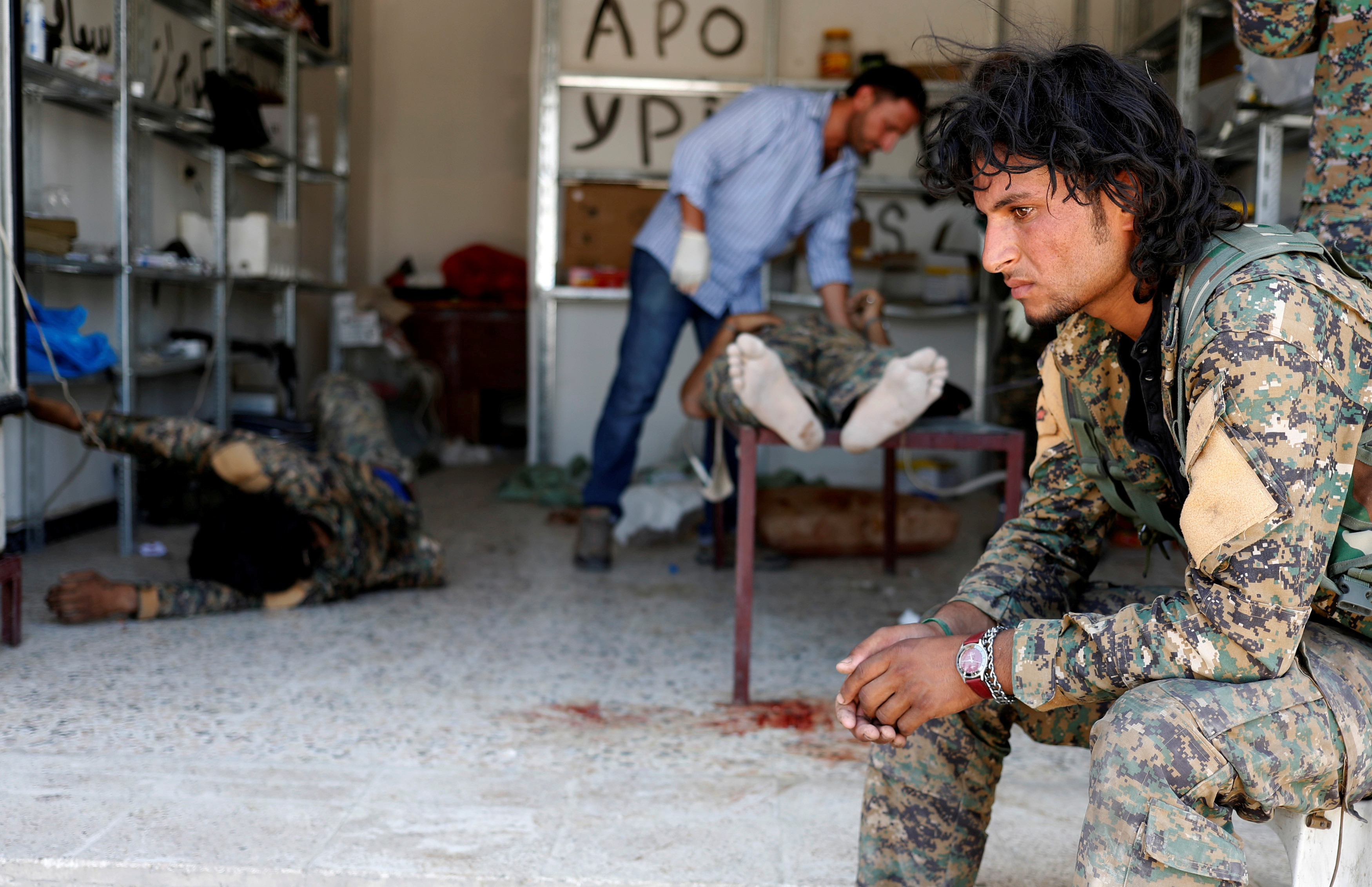 An SDF fighter in a field hospital in Raqqa in June 2017
