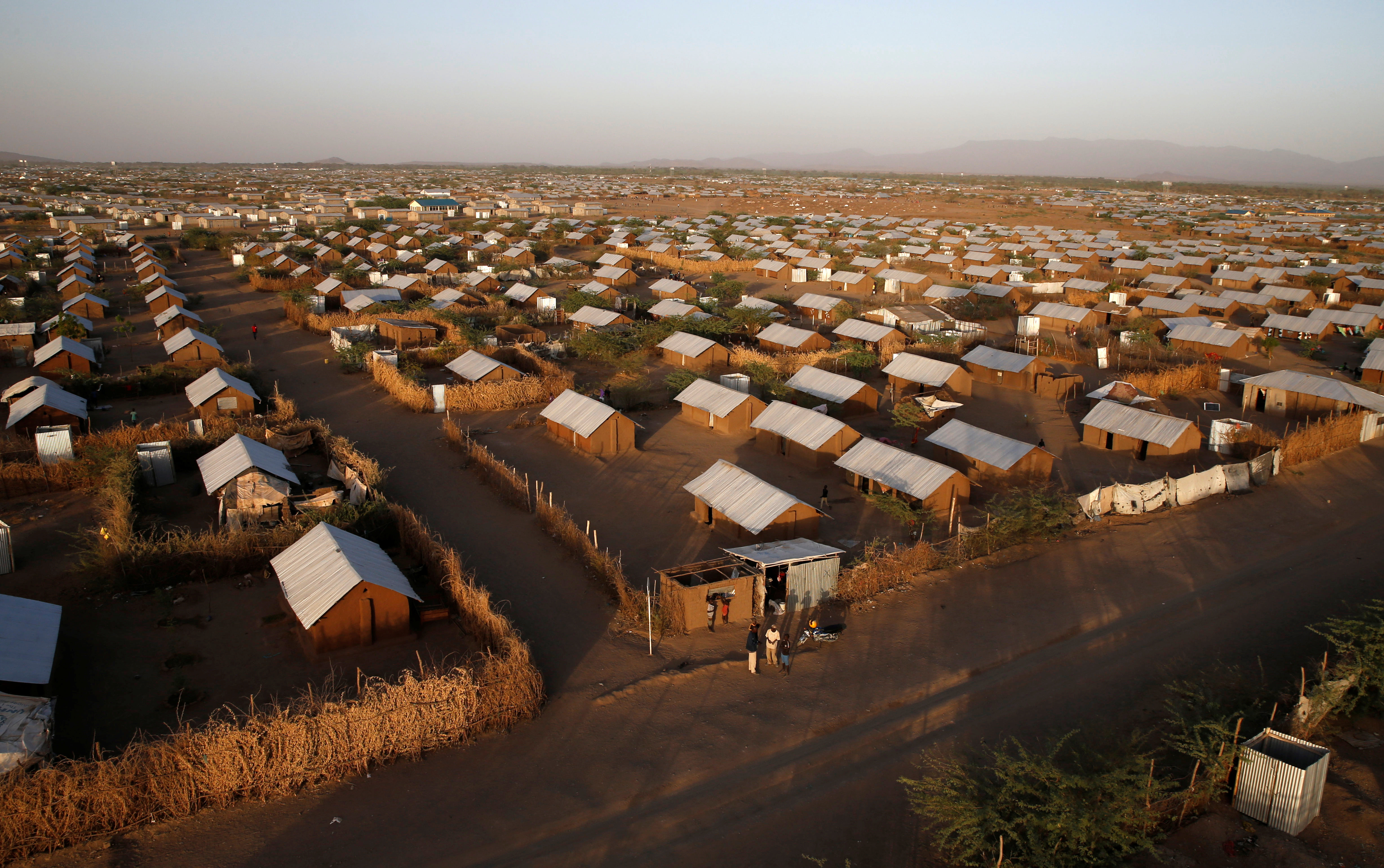 An aerial view shows recently constructed houses at the Kakuma refugee camp in Turkana county, northwest of Nairobi, Kenya, January 31, 2018. REUTERS/Thomas Mukoya - RC199DF38E10