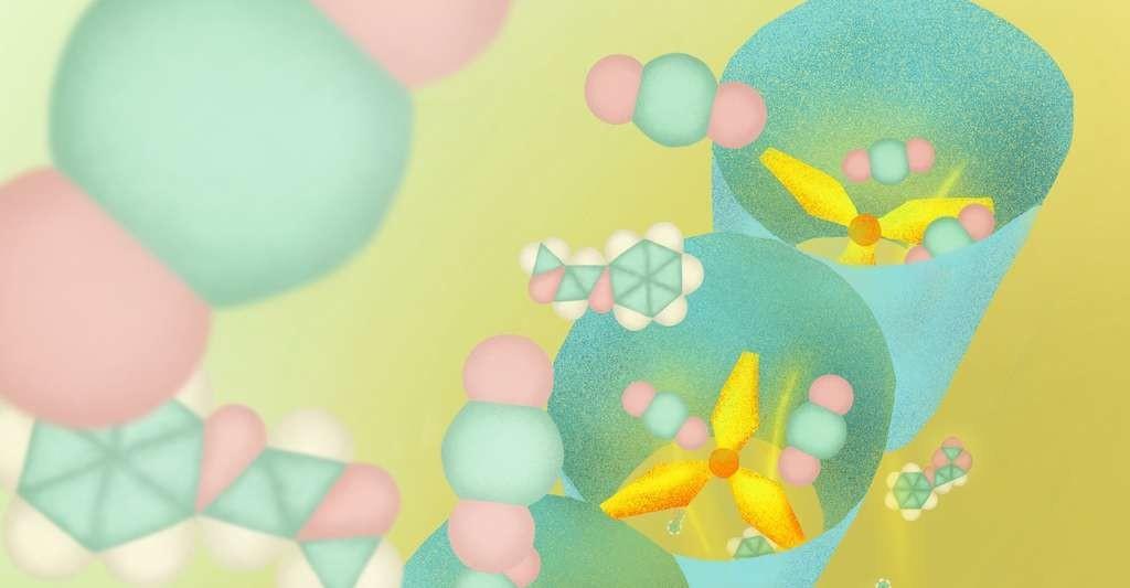 Les polymères de coordination poreux (PCP) fonctionnent comme des tamis moléculaires. Ils sont ainsi capables de reconnaître les molécules selon leur forme et leur taille. Et celui conçu par les chercheurs de l'université de Kyoto (Japon) capture le CO2 de manière sélective grâce à sa structure en hélice.