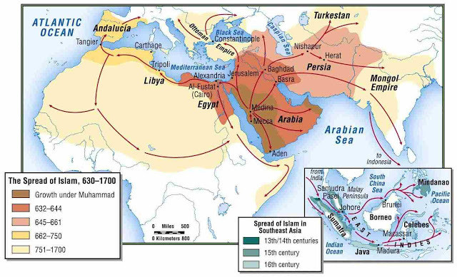 Map showing the spread of Islam.