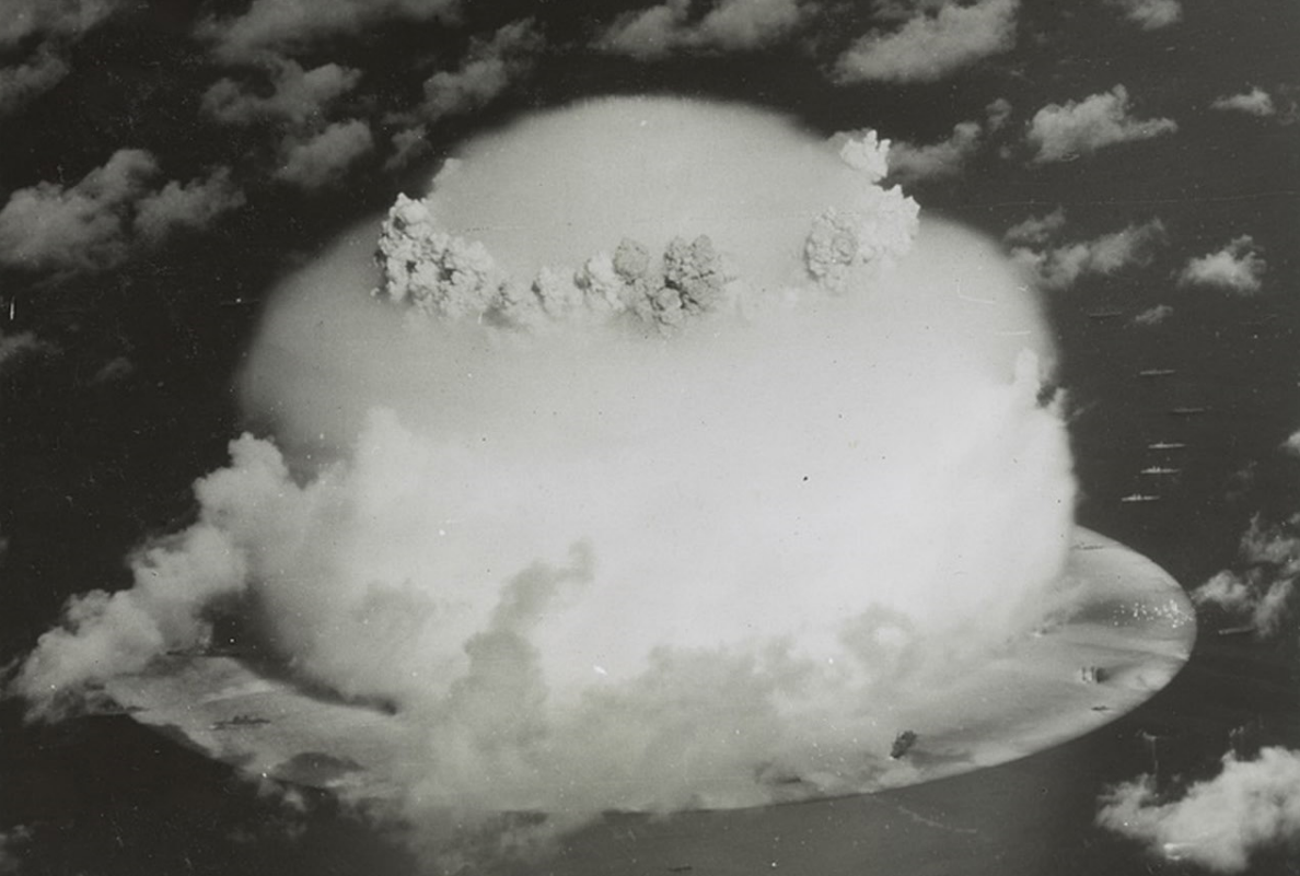 A mushroom cloud rises above Bikini Atoll in 1946