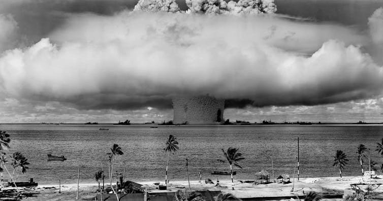 The 'Baker' Explosion, part of Operation Crossroads, a US Army nuclear test at Bikini Atoll, Micronesia, on July 25, 1946.