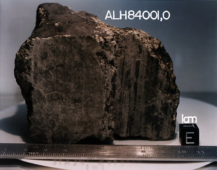 A 4.5 billion-year-old rock, labeled meteorite ALH84001, identified from Mars.