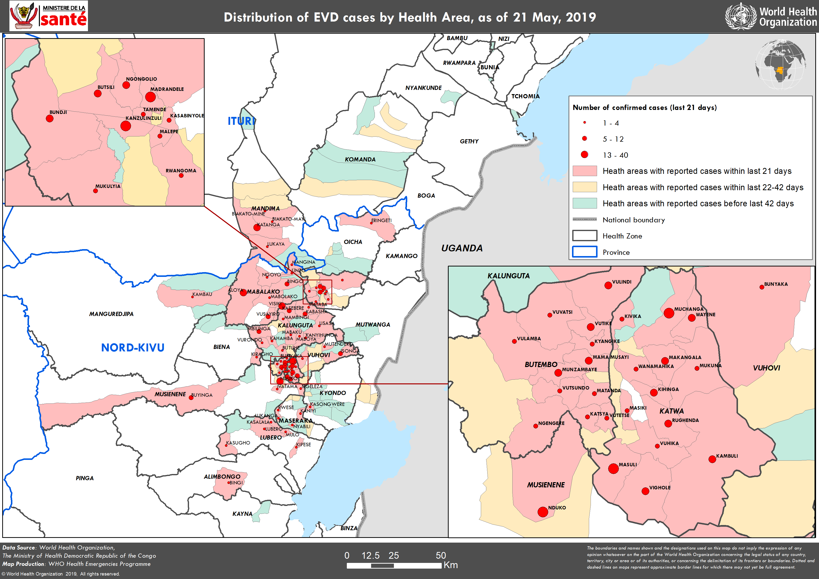 Confirmed and probable Ebola virus disease cases by health area, North Kivu and Ituri provinces, Democratic Republic of the Congo, data as of 21 May 2019