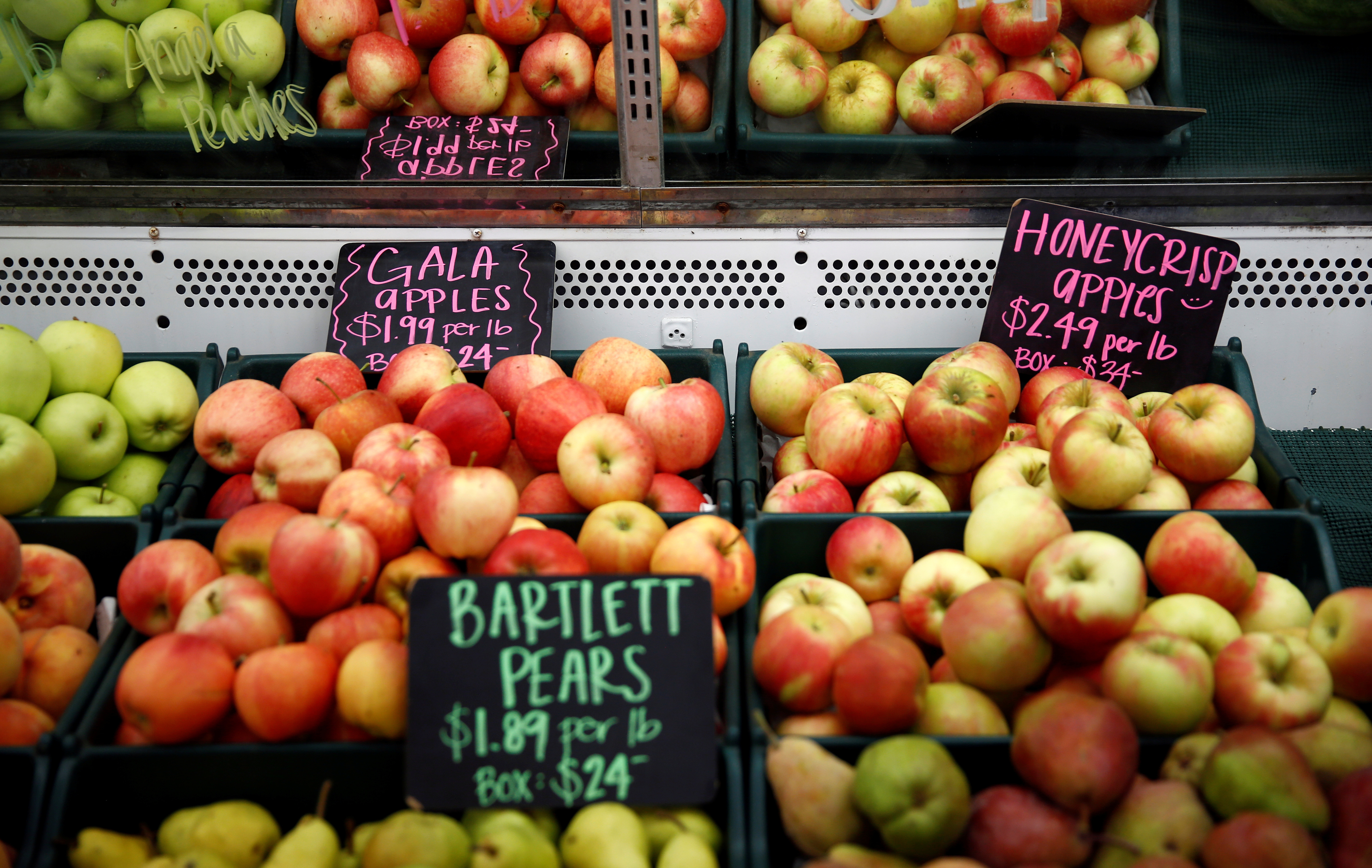 Gala apples, Bartlett pears and Honeycrisp apples are pictured at Estes Fruit Stand in East Wenatchee, Washington, U.S., September 2, 2018. Picture taken September 2, 2018.  REUTERS/Lindsey Wasson - RC184A59B0B0