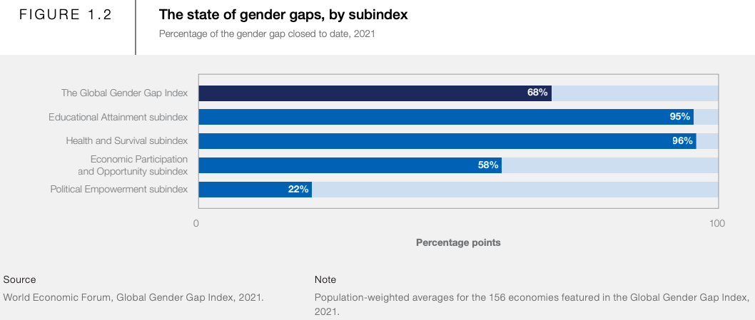 a chart that shows which sectors of society have the biggest gender gaps