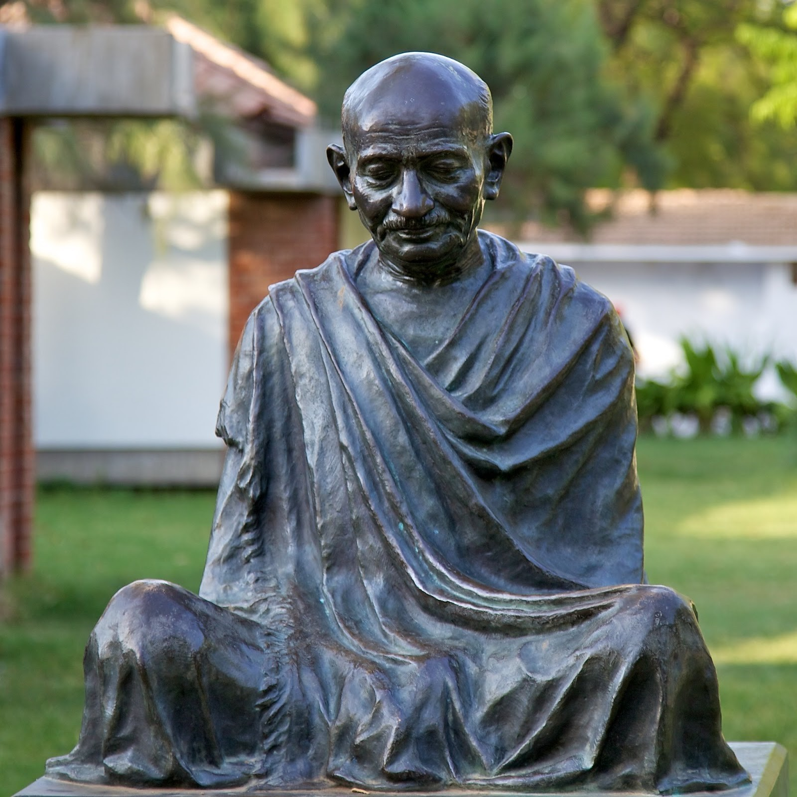 There are statues to Gandhi across the world: this one is at the Sabarmati Ashram.
