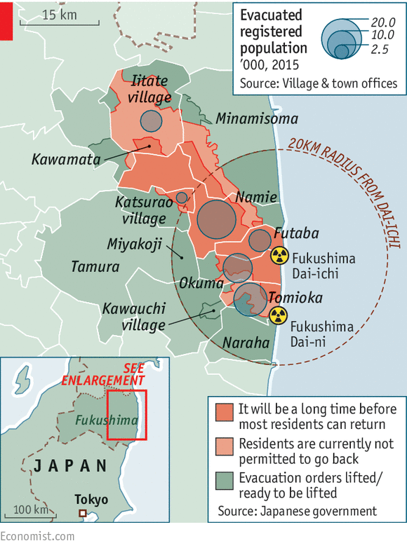 Radioactive areas in Japan.