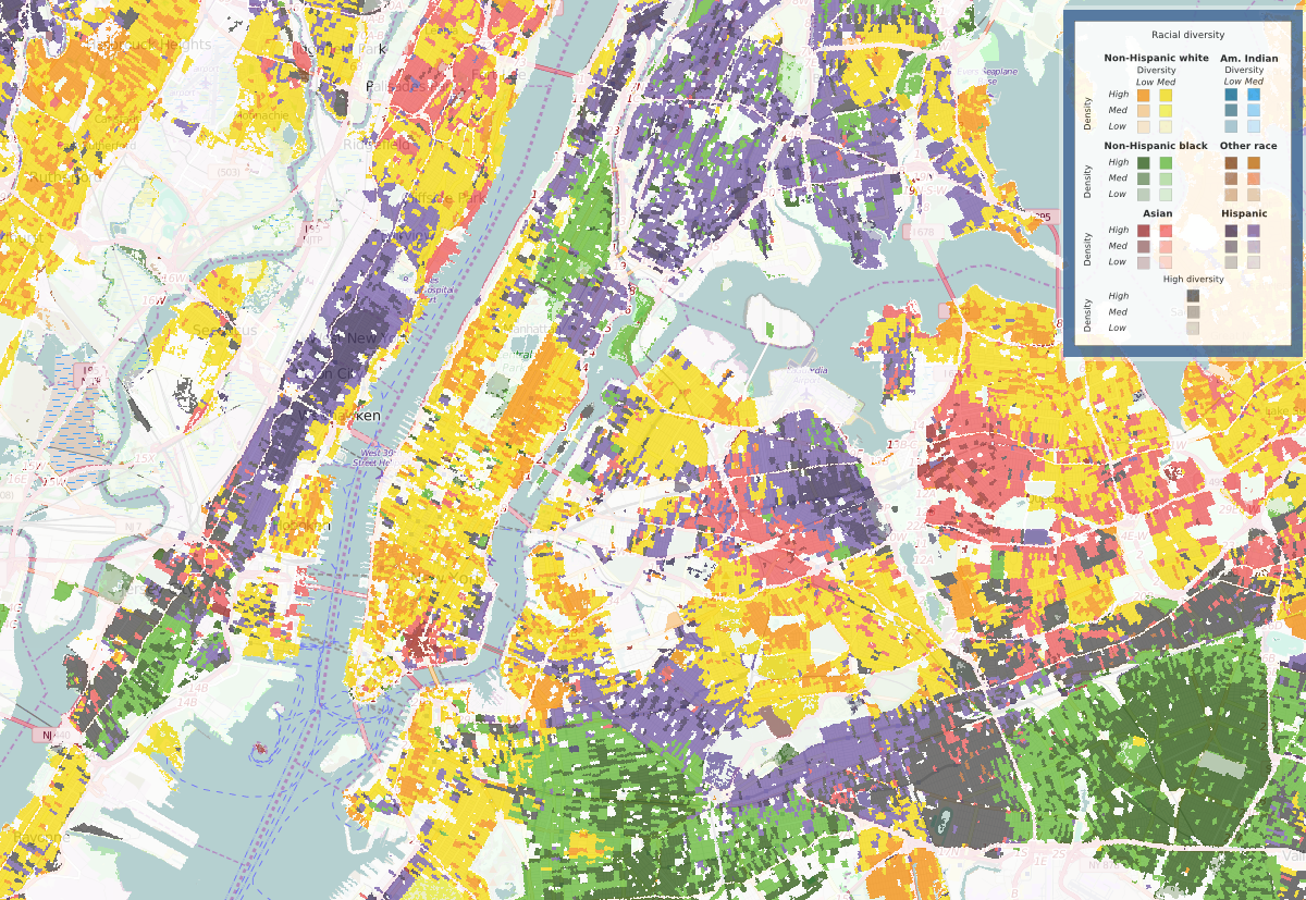 A diversity map of Jersey City (left) and New York City (right) in 2010.