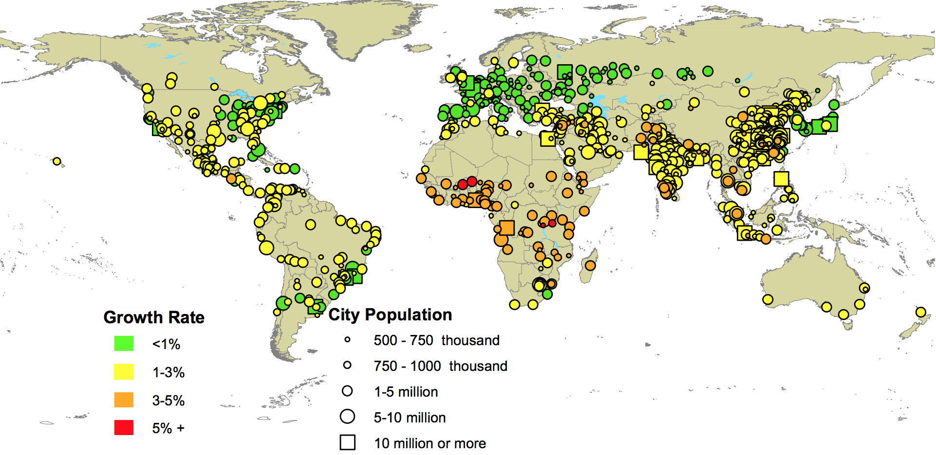Growth rates of urban agglomerations by size class