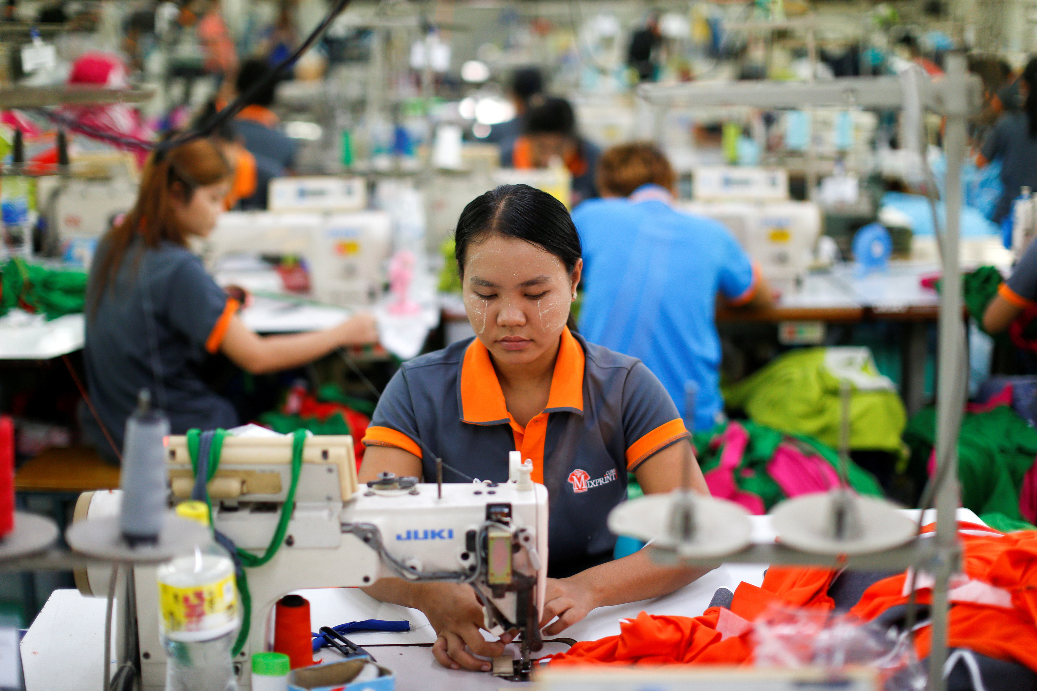 Labourers at a garment factory in Bangkok, Thailand.
