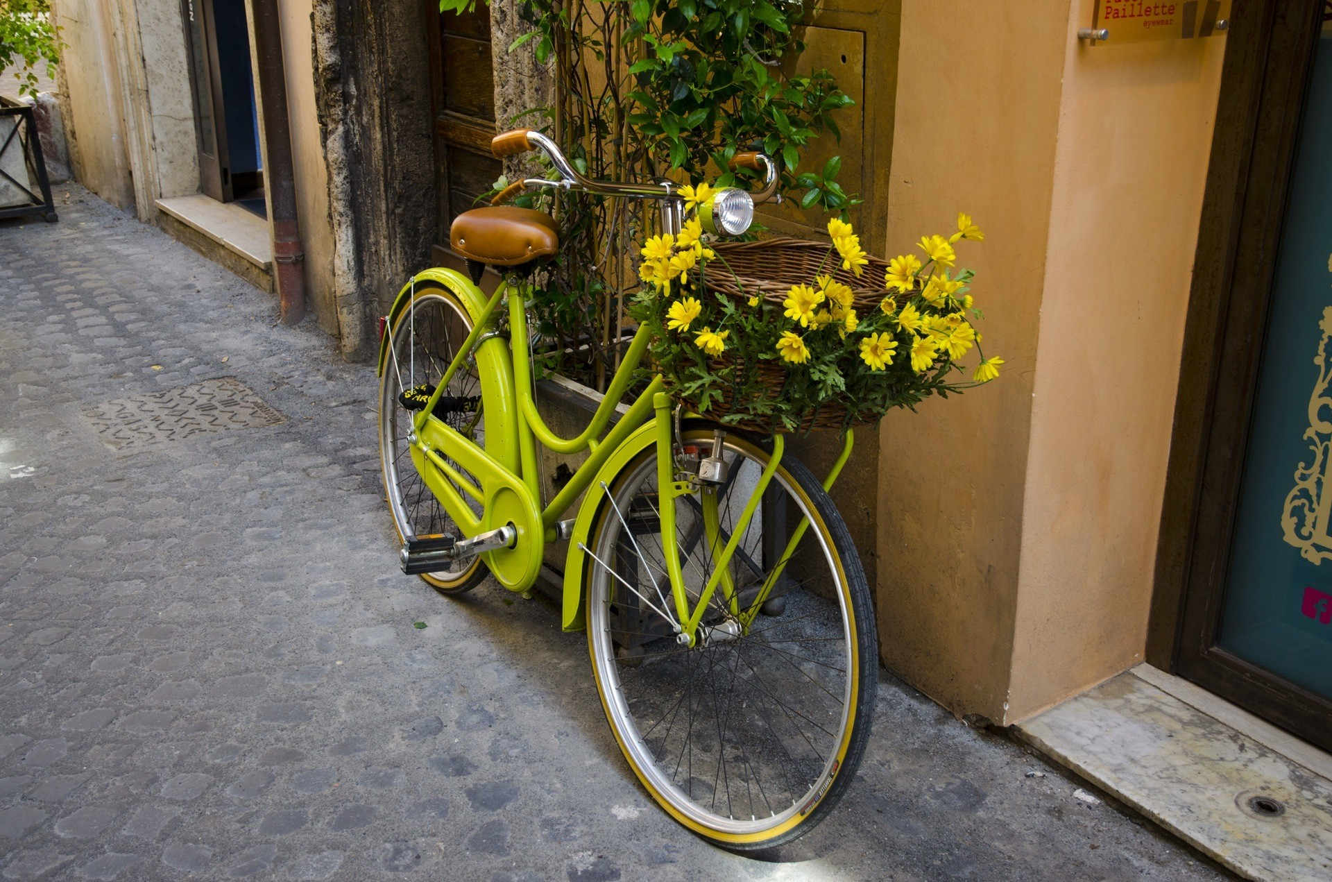 A yellow bicycle. Bicycles could be a primary form of transport in our future society.