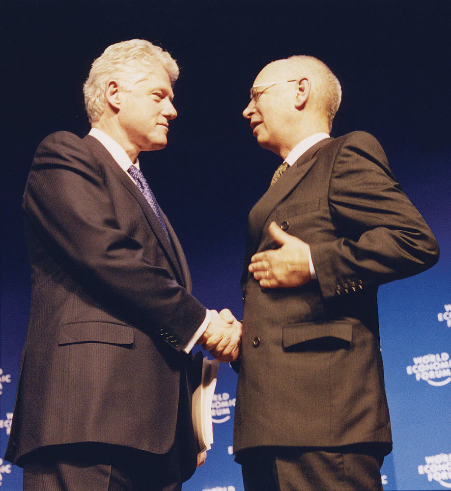 Davos World Economic Forum history Bill Clinton Klaus Schwab