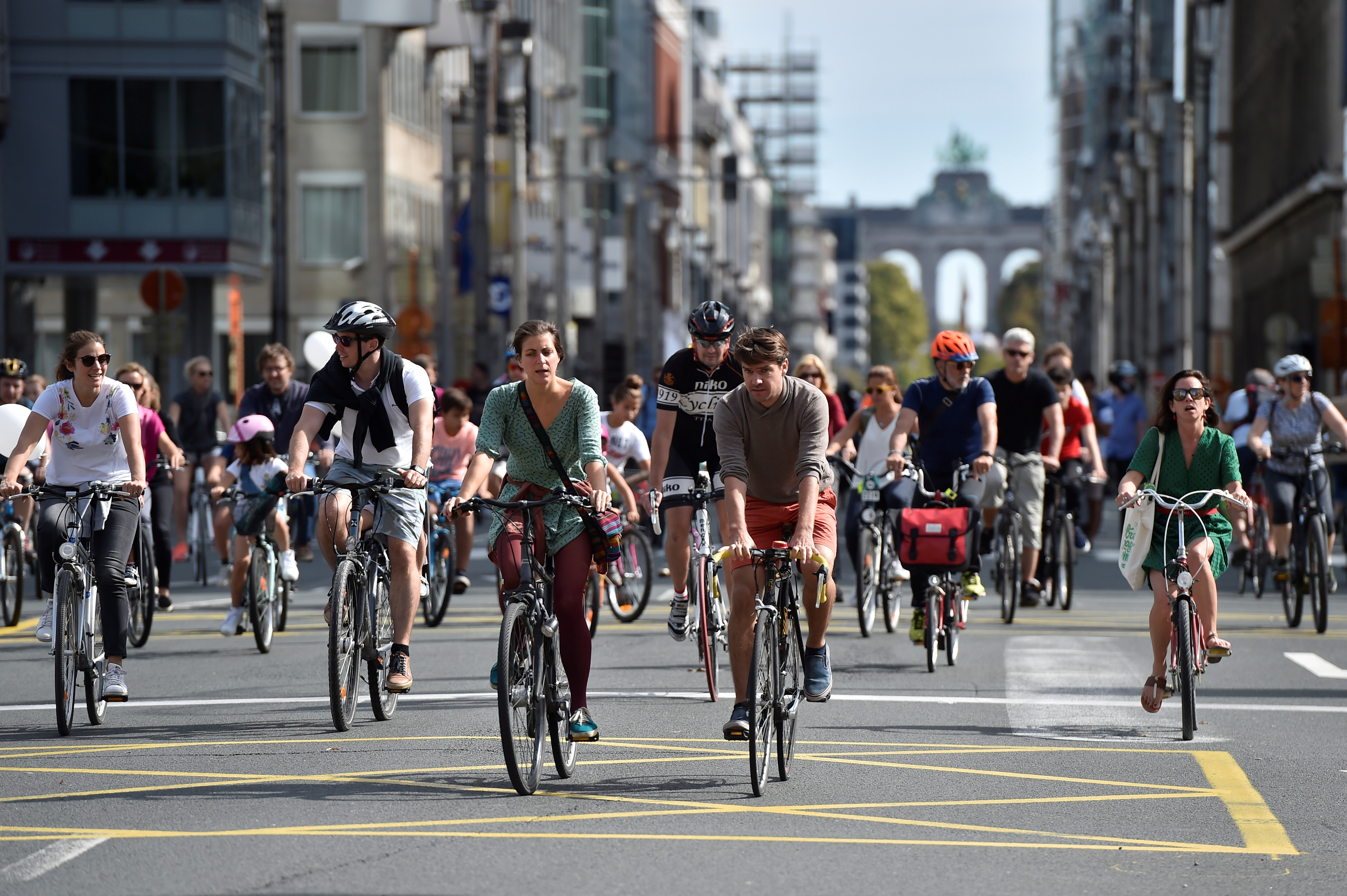 people using the streets on bicycles instead of cars