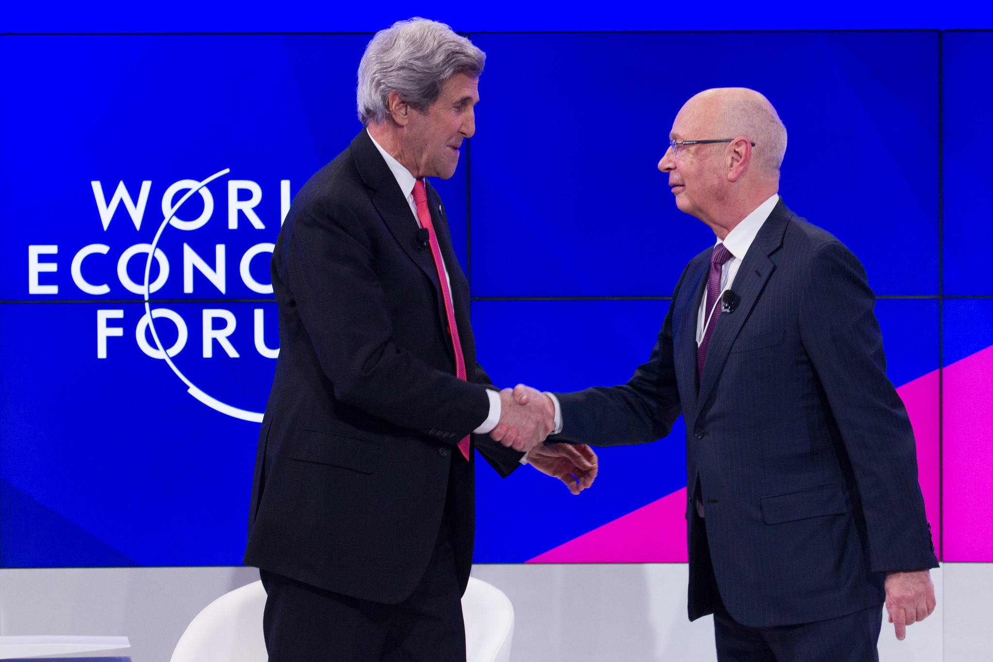 Klaus Schwab, Founder and Executive Chairman of the World Economic Forum, introduces John F. Kerry, US Secretary of State