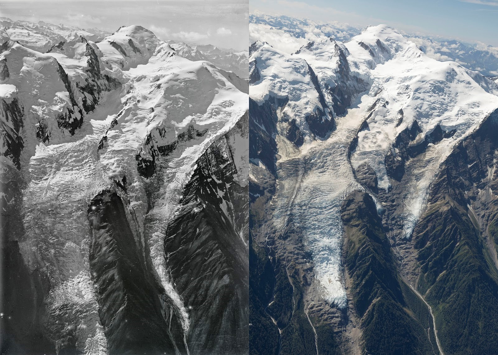 Alpine glaciers, such as Mont Blanc Bossons, are melting at what scientists say is an alarming rate.