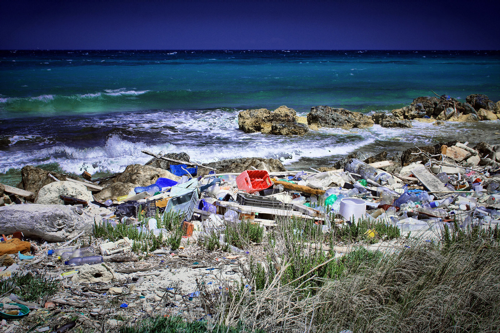 Plastic pollution near Puglia, Italy