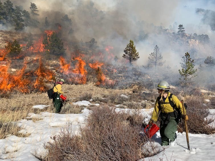A prescribed burn in the Arapahoe and Roosevelt National Forests, February 2019
