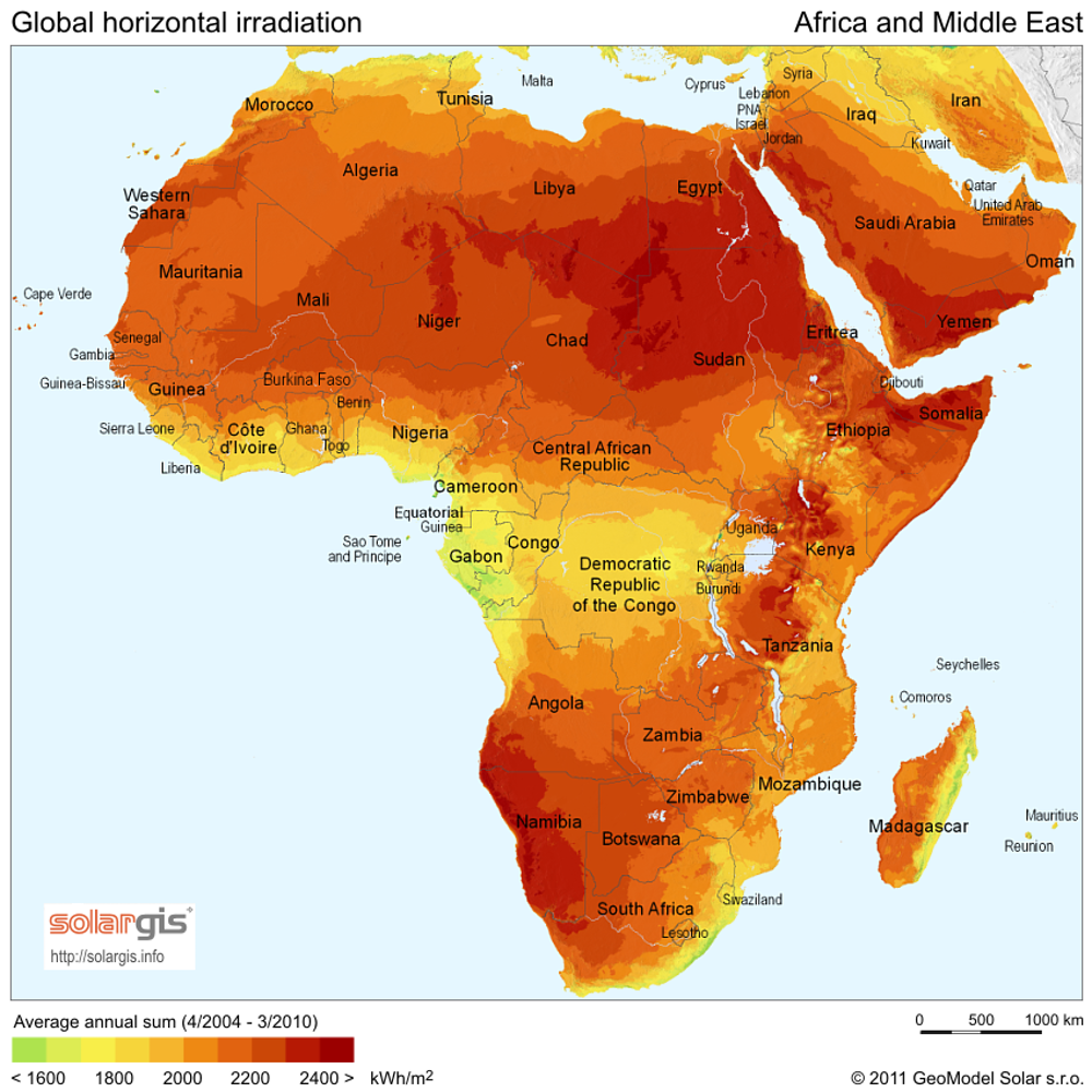 Africa has the greatest solar resource of any continent – by far.SolarGIS, CC BY-SA