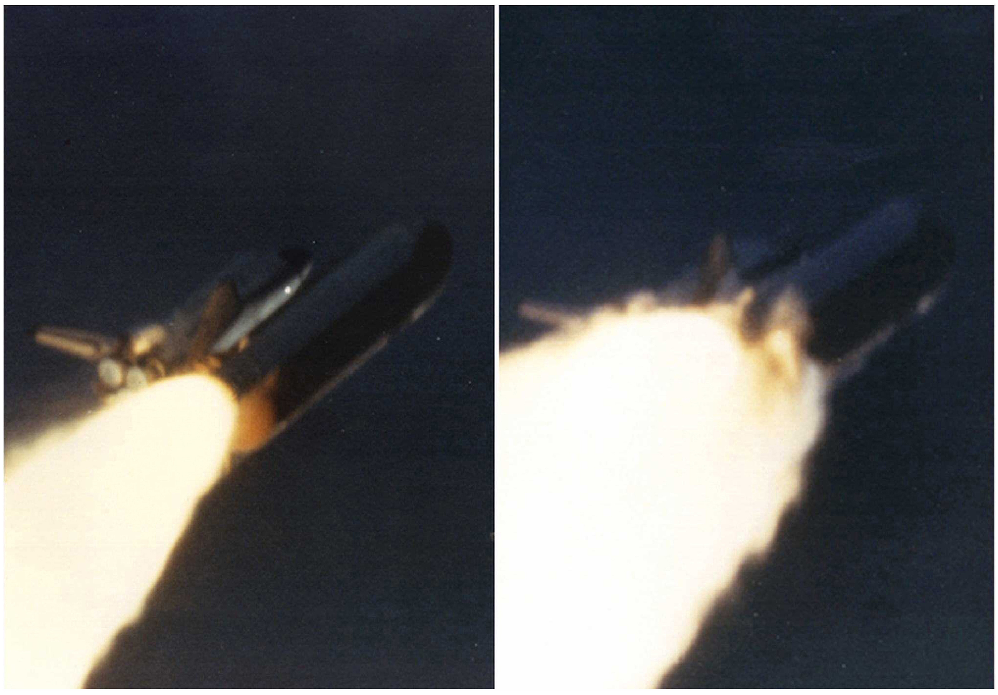 The Challenger shuttle explodes seconds after takeoff, January 1986.