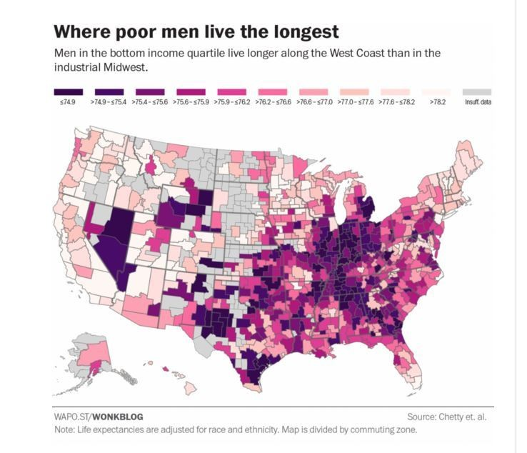 Whereabouts in the United States poor men can expect to live the longest.