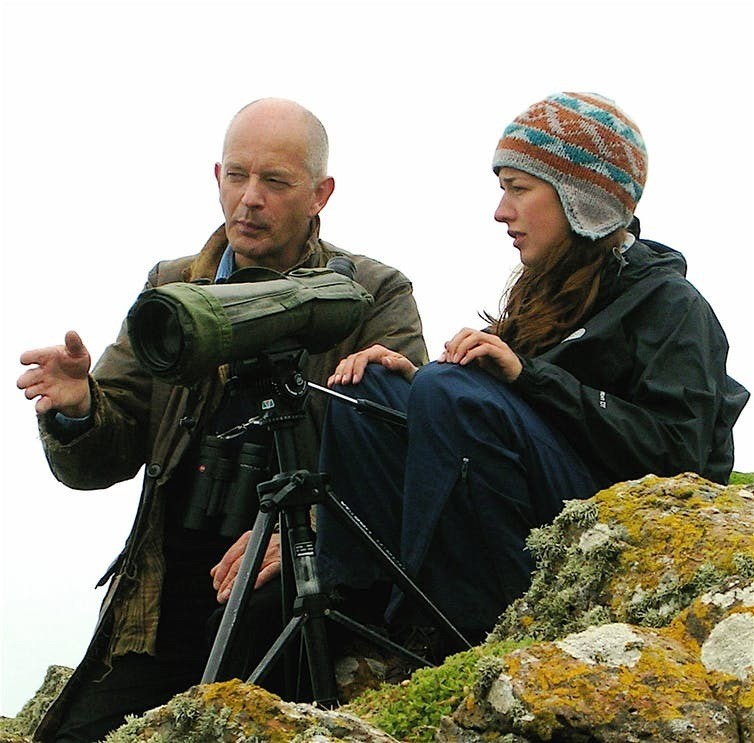 Tim Birkhead and his field assistant Dr Jess Meade on Skomer in 2012. Tim Birkhead, Author provided