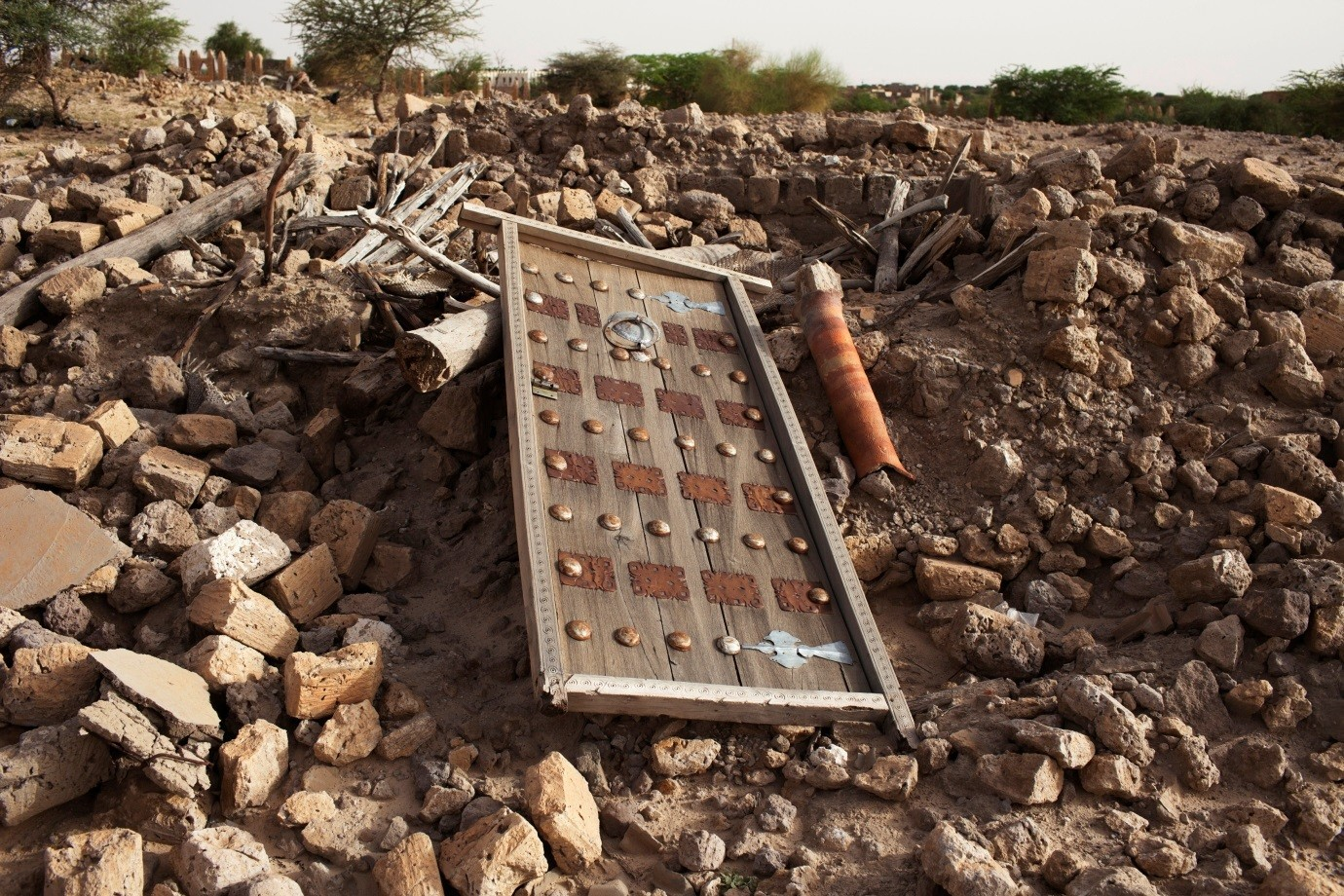The rubble left from an ancient mausoleum destroyed by Islamist militants in Timbuktu.