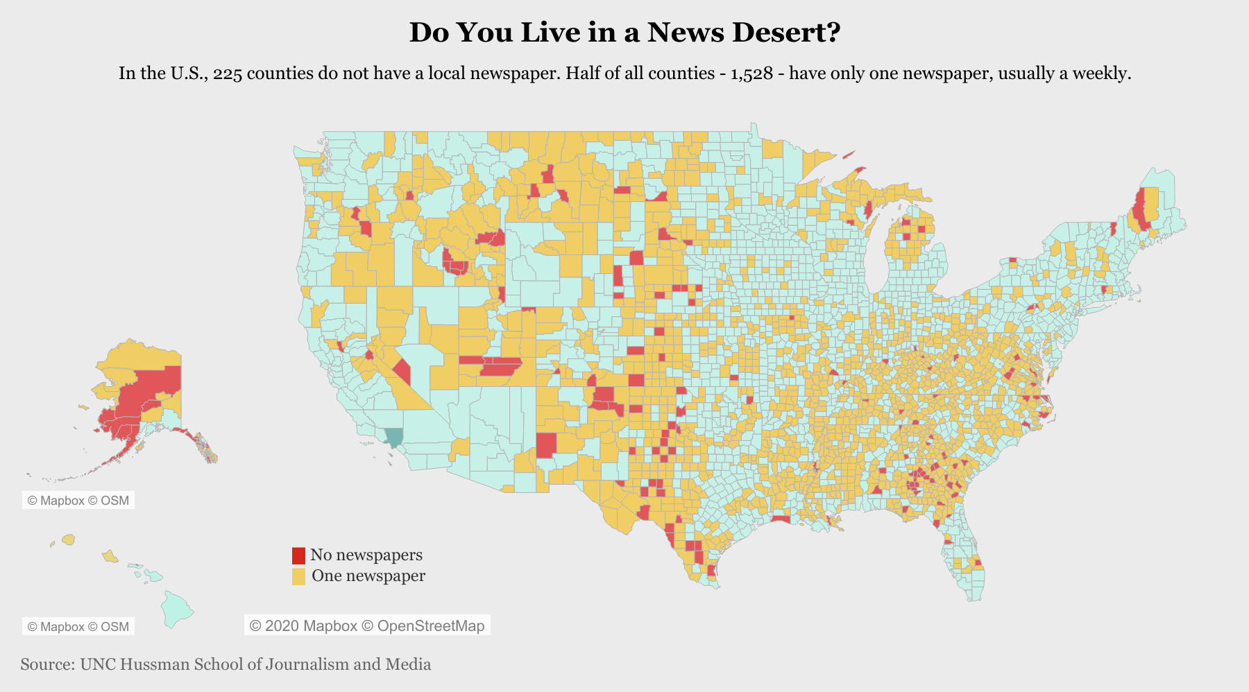 Local newspaper provision by US county