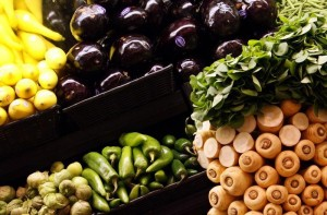 Vegetables are displayed in a supermarket in Santa Monica