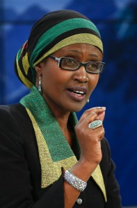 Byanyima, Executive Director of Oxfam International speaks during the session 'The BBC World Debate: A Richer World, but for Whom?' in the Swiss mountain resort of Davos