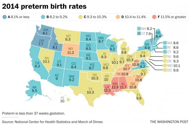 151116 premature birth rates across us washington post map