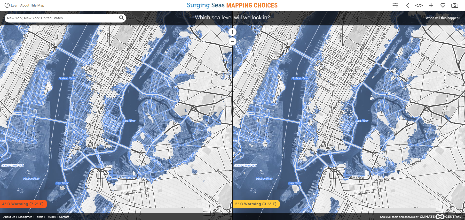 How Will Your City Be Affected By Rising Sea Levels World - Us sea level map